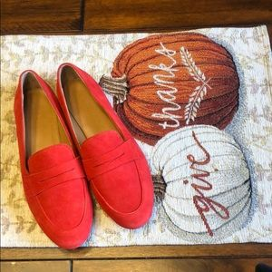 J.Crew red suede loafers